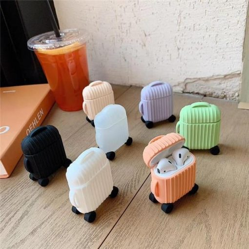 White Round Luggage AirPods Case Shock Proof Cover
