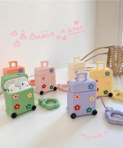 Yellow Suitcase with Flowers Premium AirPods Case Shock Proof Cover