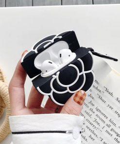 Black Camellia Flower Premium AirPods Case Shock Proof Cover