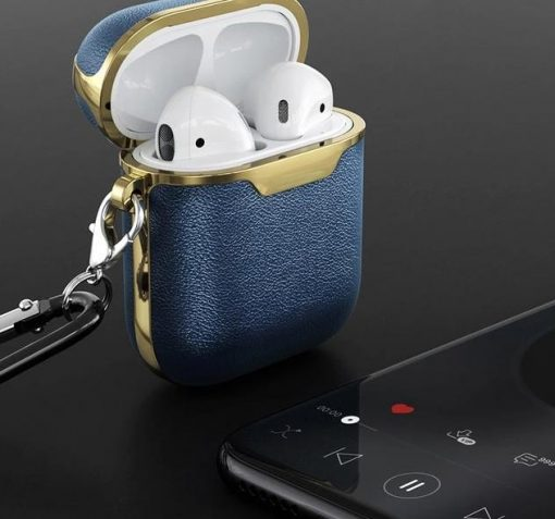 Navy and Gold Leather AirPods Case Shock Proof Cover