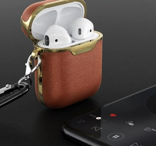 Mocha and Gold Leather AirPods Case Shock Proof Cover