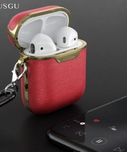 Burgundy and Gold Leather AirPods Case Shock Proof Cover