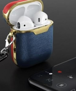 Blue Red and Gold 'Captain Marvel' Leather AirPods Case Shock Proof Cover
