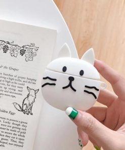 Cute White Cat Premium AirPods Case Shock Proof Cover