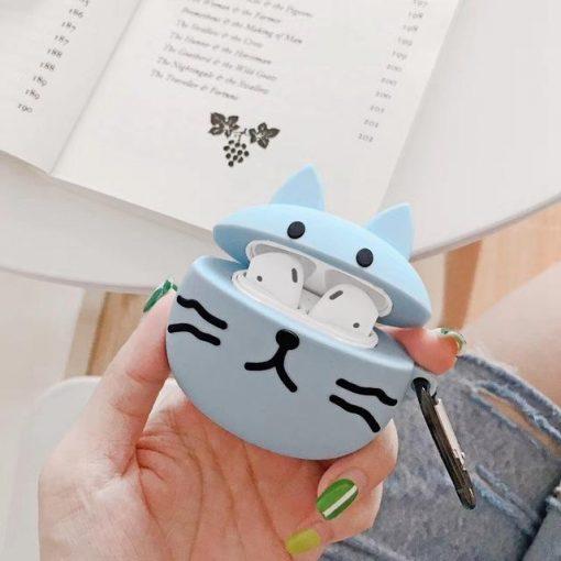 Cute Blue Cat Premium AirPods Case Shock Proof Cover
