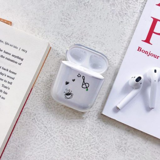 G Clef with Swirling Notes Clear AirPods Case Shock Proof Cover