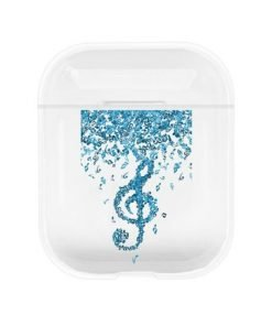 Blue G Clef Clear AirPods Case Shock Proof Cover