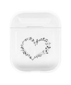 Music Note Heart Clear AirPods Case Shock Proof Cover
