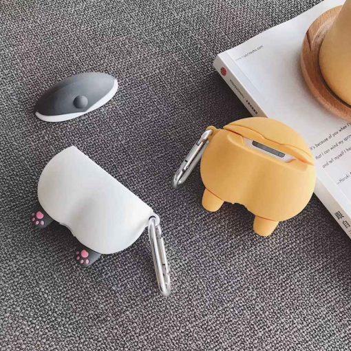 Grey Corgi Cute Dog Butt Premium AirPods Case Shock Proof Cover