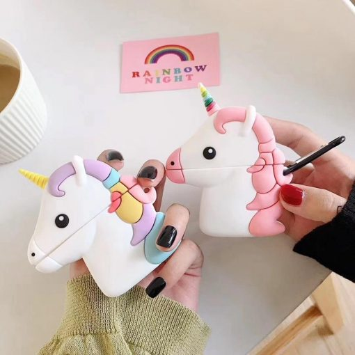 Purple Unicorn with Rainbow Horn Premium AirPods Case Shock Proof Cover