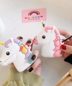 Pink Unicorn with Rainbow Horn Premium AirPods Case Shock Proof Cover