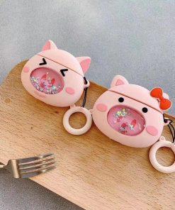 Red Bow Piggy 'Snowglobe' Premium AirPods Case Shock Proof Cover