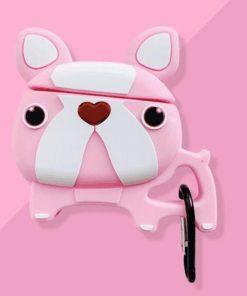 Pink Walking Bulldog Premium AirPods Case Shock Proof Cover