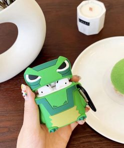 Cute Green Angry Dino Premium AirPods Case Shock Proof Cover