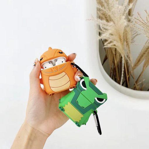 Cute Orange Dino Premium AirPods Case Shock Proof Cover