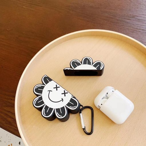 Black and White 'X Eyes Sunflower Premium AirPods Case Shock Proof Cover