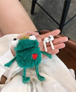 Furry Plush Frog Premium AirPods Case Shock Proof Cover