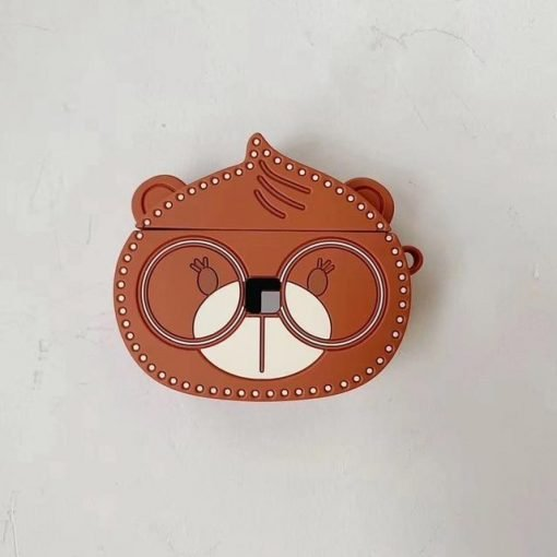 Cute Bear with Reading Glasses Premium AirPods Case Shock Proof Cover