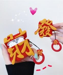 Cute Chinese Red Fa Cai 'Make Money' Premium AirPods Case Shock Proof Cover