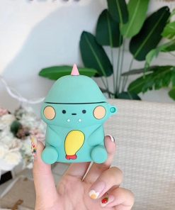 Green Dinosaur Eating Chicken Premium AirPods Case Shock Proof Cover