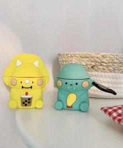 Yellow Dinosaur Sipping Bubble Tea Premium AirPods Case Shock Proof Cover