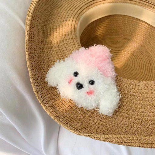 Cute Plush Furry White Doggy Premium AirPods Case Shock Proof Cover