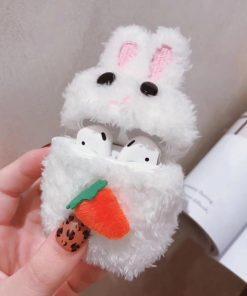 Cute Plush Furry Bunny Premium AirPods Case Shock Proof Cover