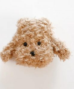 Cute Plush Furry Brown Doggy Premium AirPods Case Shock Proof Cover