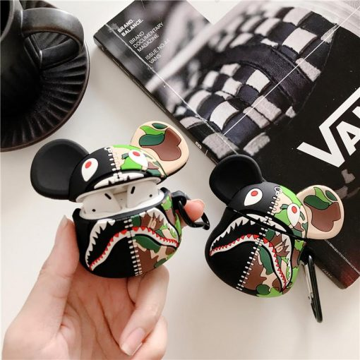 Kaws Mickey Shark Camouflage Premium AirPods Case Shock Proof Cover