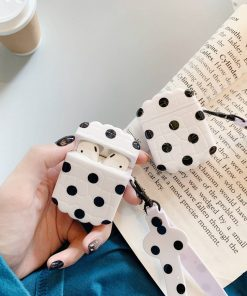 White Polka Dots AirPods Case Shock Proof Cover