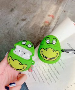 Green Happy Dino Premium AirPods Case Shock Proof Cover