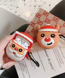 Cute Christmas Smirky Reindeer Premium AirPods Case Shock Proof Cover