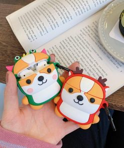 Dog in a Reindeer Costume Premium AirPods Case Shock Proof Cover