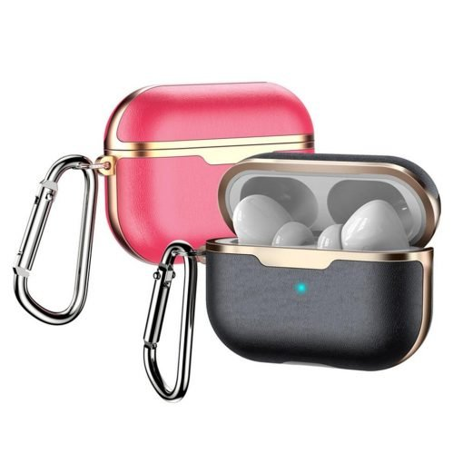 Two Tone Brass and Vegan Leather AirPods Pro Case Shock Proof Cover