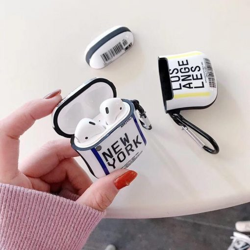 Boarding Pass 'Los Angeles New York' AirPods Case Shock Proof Cover