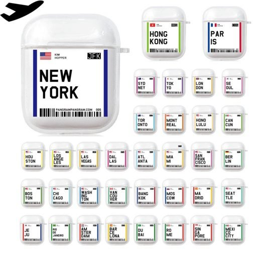 Boarding Pass Clear Acrylic AirPods Case Shock Proof Cover
