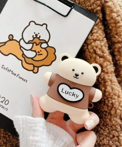 Cute Lucky Teddy Bear AirPods Case Shock Proof Cover