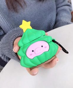 Pig in a Christmas Tree Premium AirPods Case Shock Proof Cover