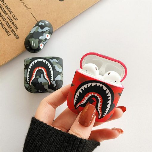 Fashion Camouflage Shark AirPods Case Shock Proof Cover