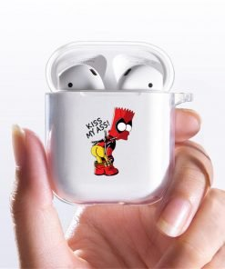 The Simpsons 'Deadpool Bart | Homer Got Beer' Clear Acrylic AirPods Case Shock Proof Cover
