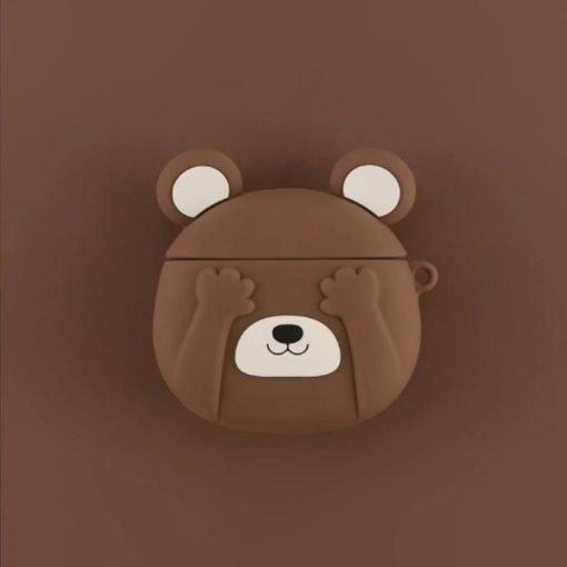 Cute Shy Bear Premium AirPods Case Shock Proof Cover