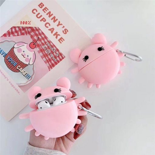 Cute Pink Crab Premium AirPods Case Shock Proof Cover