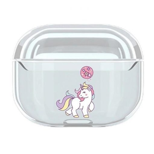 Cute Unicorn Clear Acrylic AirPods Pro Case Shock Proof Cover