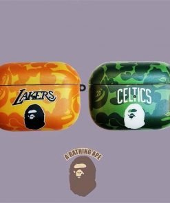 Basketball 'Bathing Ape | Lakers | Dark Orange Camo' AirPods Pro Case Shock Proof Cover