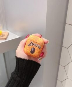 Basketball 'Bathing Ape | Lakers | Light Orange Camo' AirPods Case Shock Proof Cover