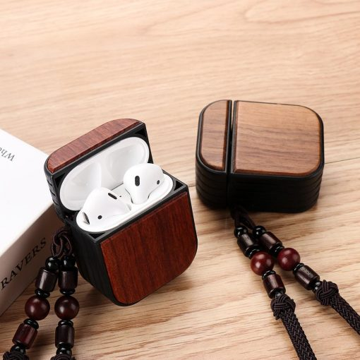 Luxury Walnut Rosewood Airpods Case Shock Proof Cover