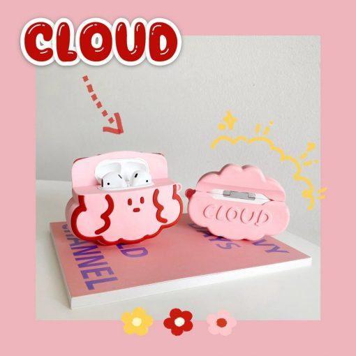 Cute Purple Bear   Pink Cloud Premium AirPods Case Shock Proof Cover