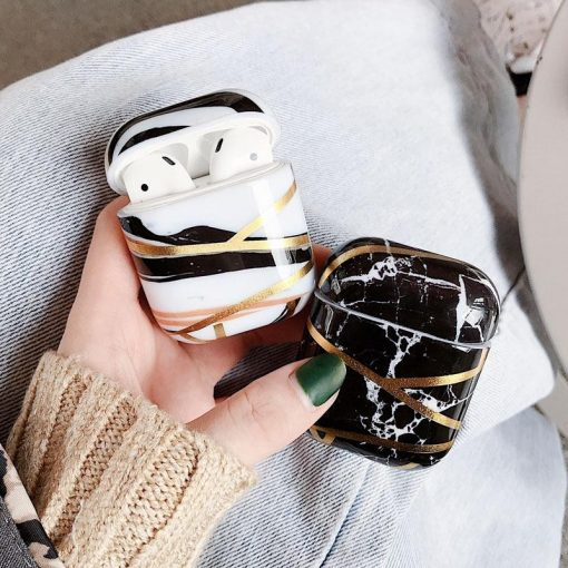 Marble and Gold Filigree Plastic AirPods Case Shock Proof Cover