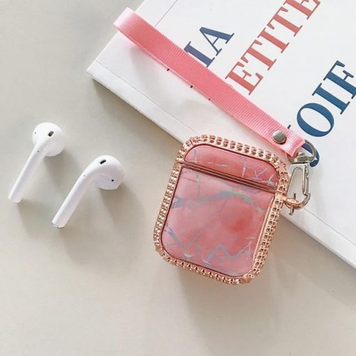 Cute Rhinestone and Marble AirPods Case Shock Proof Cover
