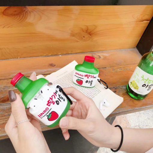 Korean Soju 'Strawberry' Premium AirPods Case Shock Proof Cover